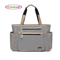 Colorland Diaper Tote Bag - Black Stripes and Camel
