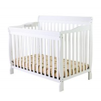 Dream On Me Ashton 5 in 1 Convertible Crib, White with Free Mattress