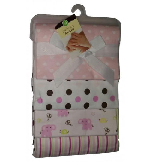 Carter's 4 Pack Receiving Blankets- Pink