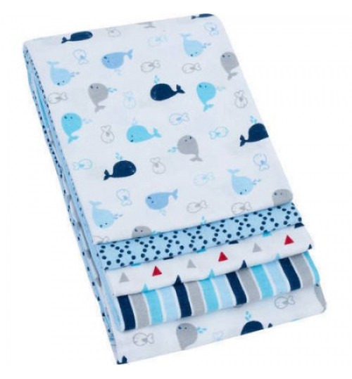 Garanimals Cotton Flannel Receiving Blankets, Set of 4 Blue