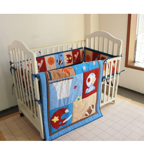 3 Piece Baby Crib Bedding Set, Baseball Design