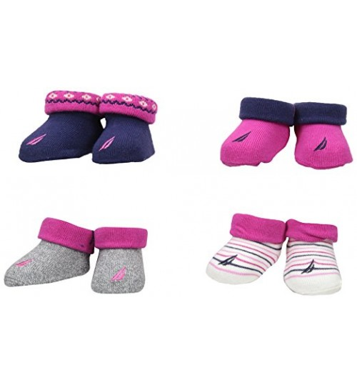 Nautica Baby Girls 4 Pack Booties - Marl