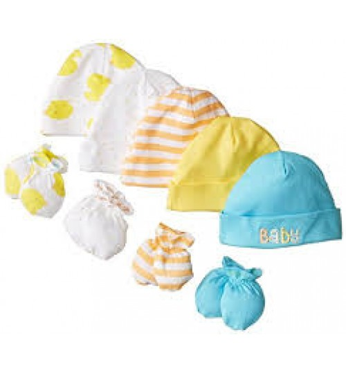 Gerber Unisex-Baby Newborn Bears Caps and Mitten (Pack of 5 and 4)