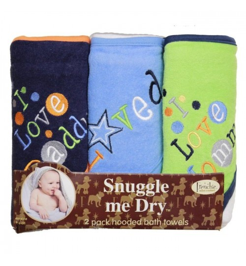 Frenchie Mini Couture I Love Mommy and Daddy Boy Towels