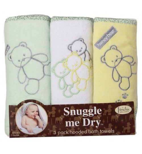 Frenchie Mini Couture Yellow Snuggle Me Dry Hooded Bath Towels - 3 Pack