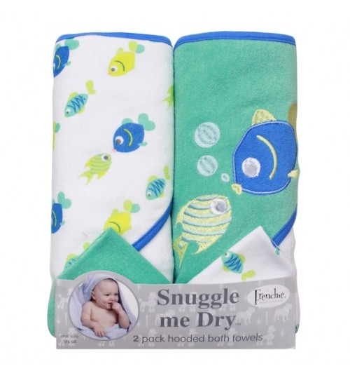 Frenchie Mini Couture Snuggle Me Dry Hooded Bath Towels with Washcloths, Crab- 2 Pack