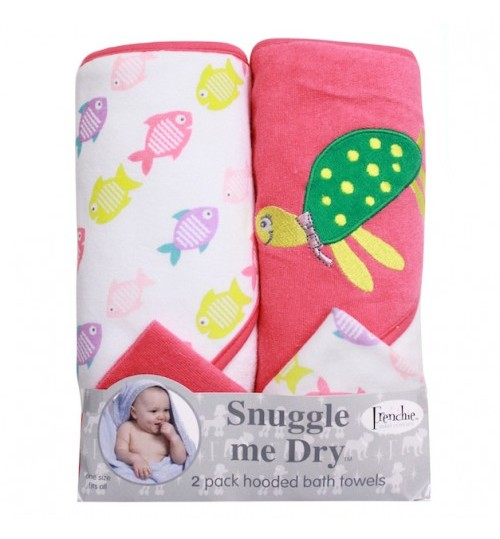 Frenchie Mini Couture Snuggle Me Dry Hooded Bath Towels  & Washcloths, Turtle - 2 Pack