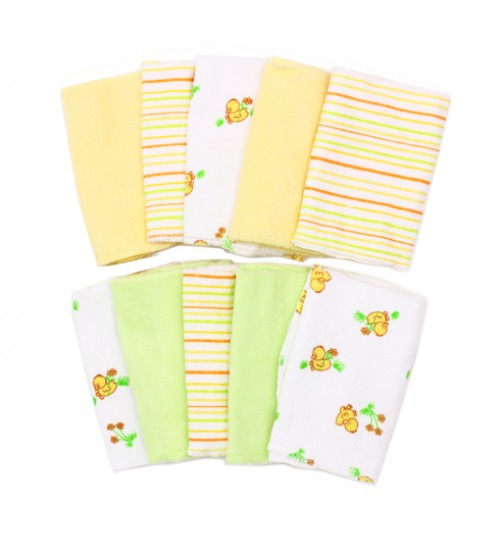 Spasilk 10 Washcloths, Yellow, Duck Print