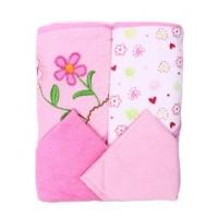 Spasilk 2 Towels, 2Washcloths, Pink flower