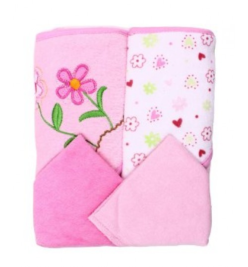 Spasilk 2 Towels, 2Washcloths, Pink flower