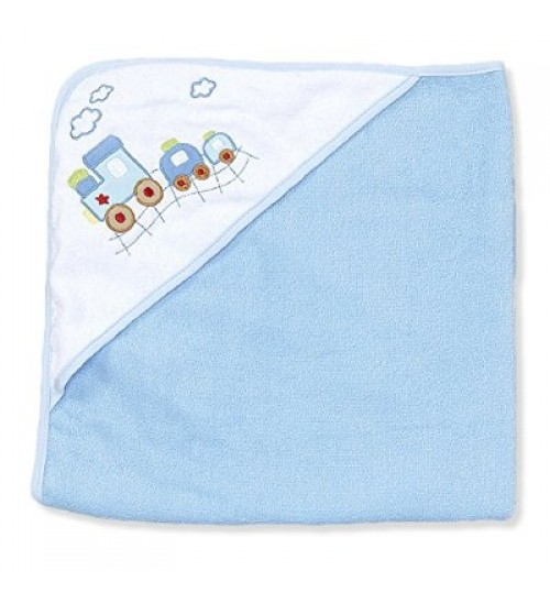Spasilk hooded towel - blue train.