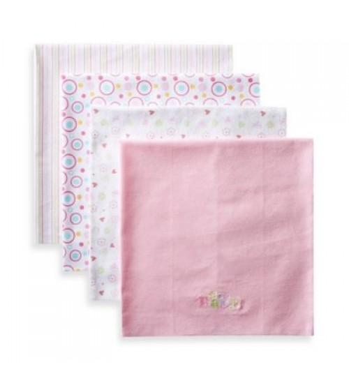 4 Pack receiving blanket , med pink baby/circle design