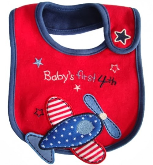 Carter's red baby' s first 4th aeroplane bib