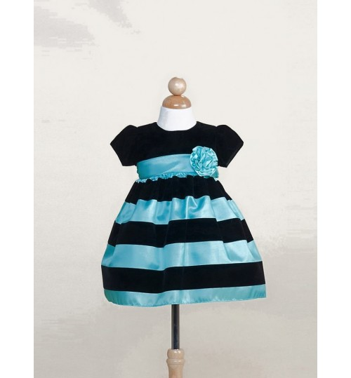 Crayon Kids Torquoise and Black Striped Occasion Dress