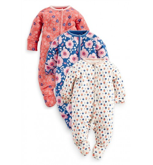 Next Three Pack Cobalt, Coral And Floral Sleepsuits