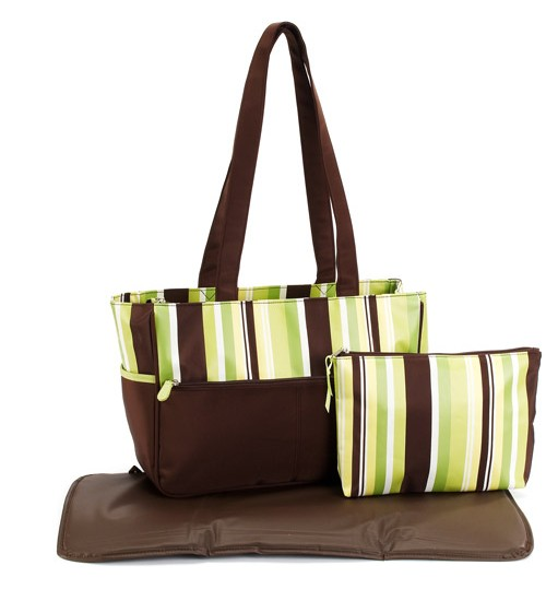 Pretty Baby - Microfiber Striped Tote Diaper Bag, Brown and Sage Green